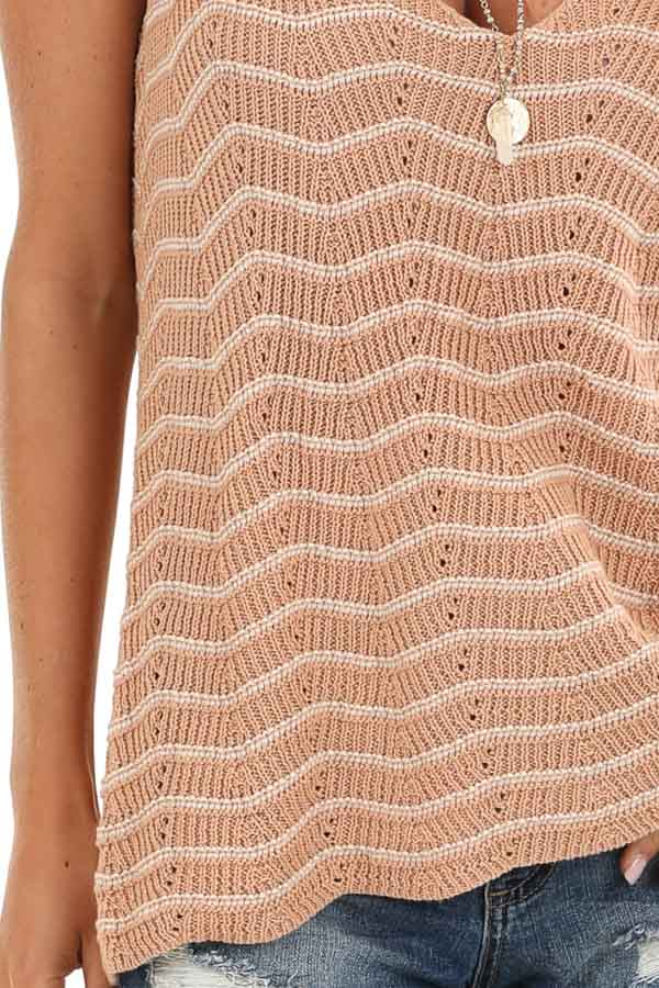 Apricot and Ivory Striped Sweater Top with V Neckline detail