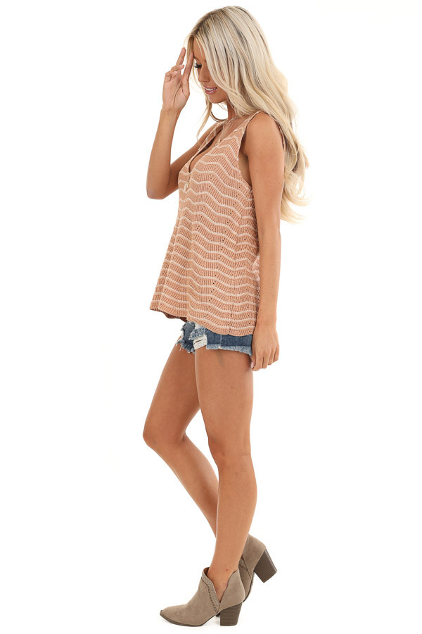 Apricot and Ivory Striped Sweater Top with V Neckline side full body