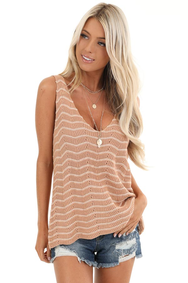 Apricot and Ivory Striped Sweater Top with V Neckline front close up