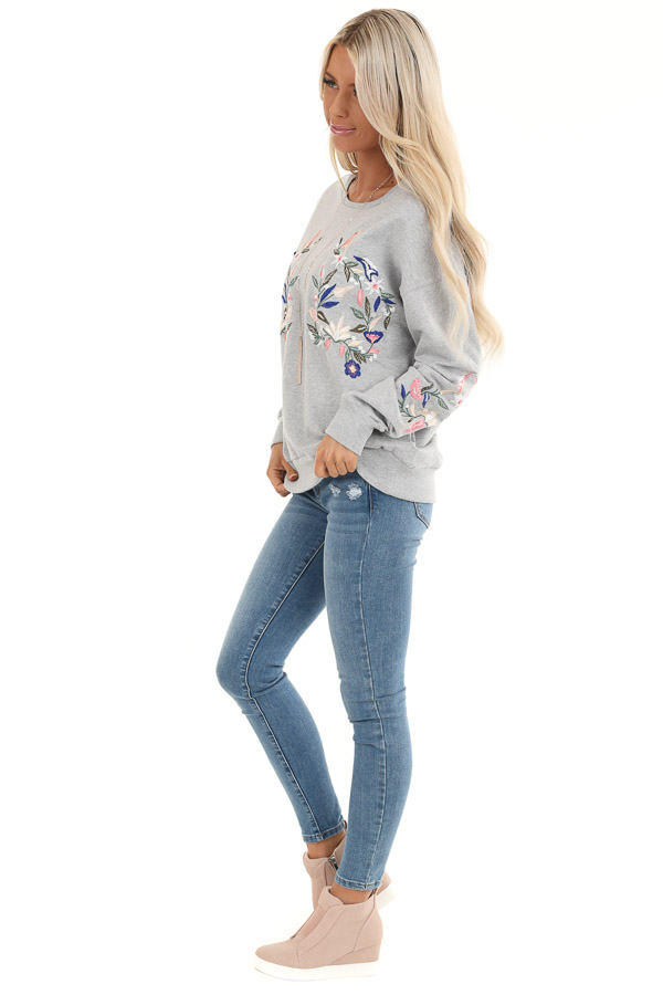 Heather Grey Pullover Top with Embroidered Floral Detail side full body