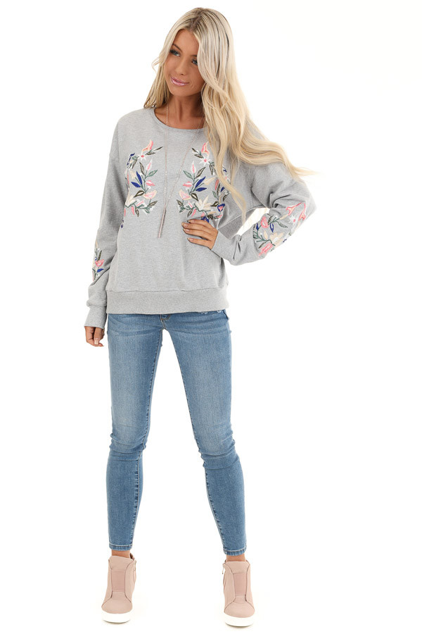 Heather Grey Pullover Top with Embroidered Floral Detail front full body