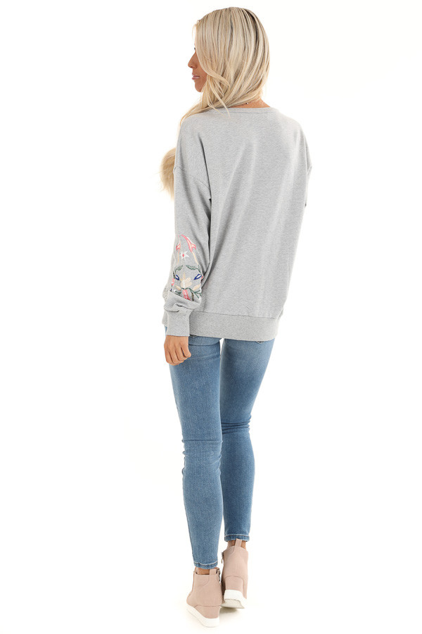Heather Grey Pullover Top with Embroidered Floral Detail back full body