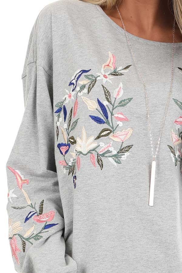 Heather Grey Pullover Top with Embroidered Floral Detail detail