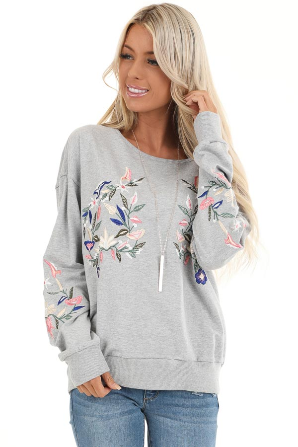Heather Grey Pullover Top with Embroidered Floral Detail front close up