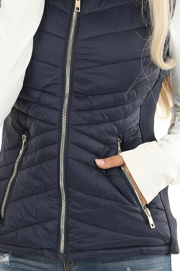 Midnight Navy Collared Puffer Vest with Pockets detail