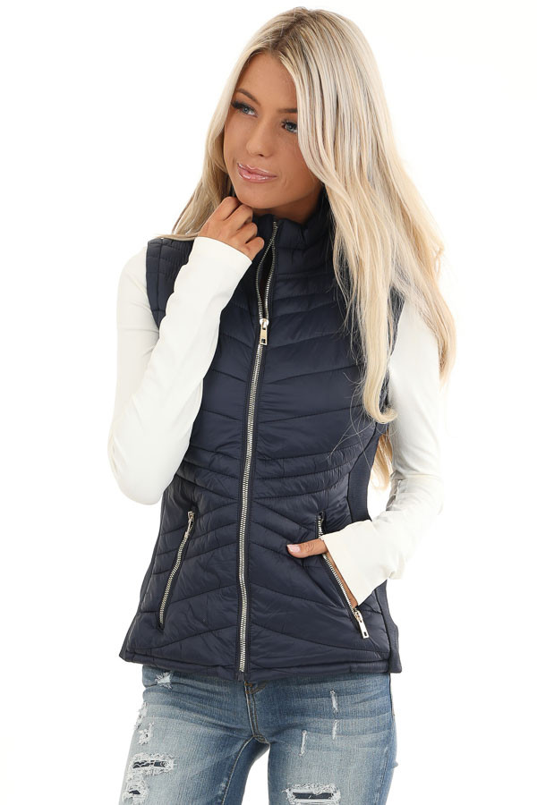 Midnight Navy Collared Puffer Vest with Pockets front close up