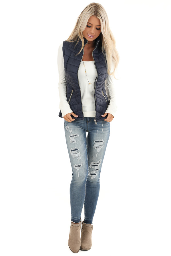Midnight Navy Collared Puffer Vest with Pockets front full body