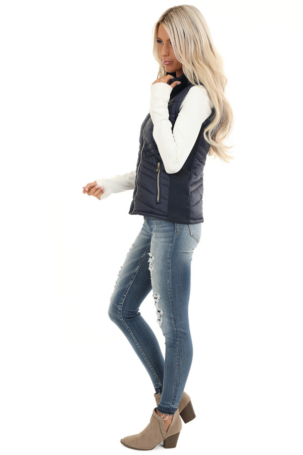 Midnight Navy Collared Puffer Vest with Pockets side full body