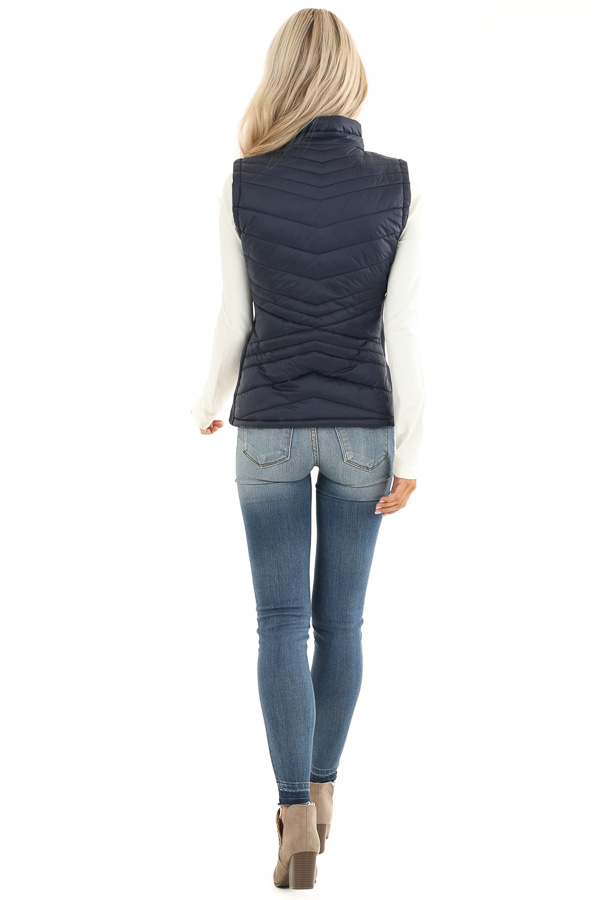 Midnight Navy Collared Puffer Vest with Pockets back full body