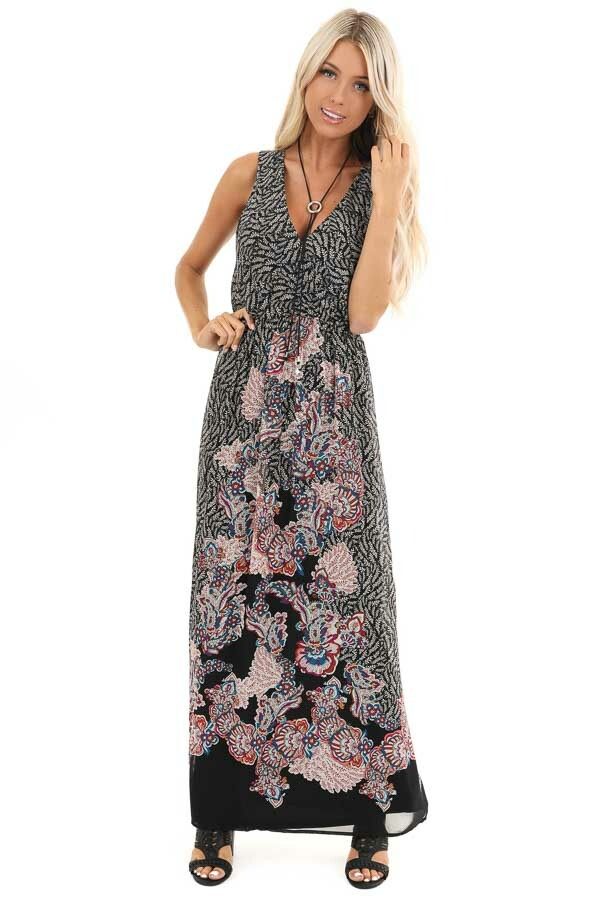 Black Floral Print Sleeveless Surplice Maxi Dress front full body