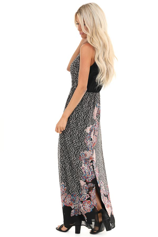 Black Floral Print Sleeveless Surplice Maxi Dress side full body