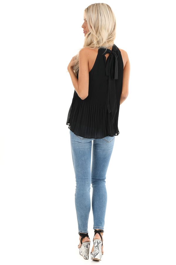 Black Pleated Flowy Halter Tank with Neck Tie Detail back full body
