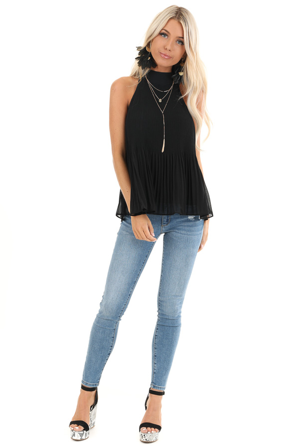 Black Pleated Flowy Halter Tank with Neck Tie Detail front full body