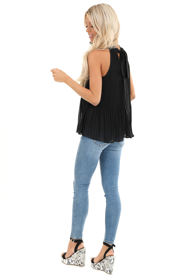 Black Pleated Flowy Halter Tank with Neck Tie Detail back side full body