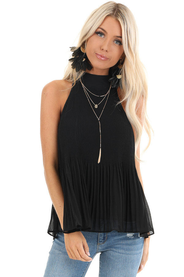 Black Pleated Flowy Halter Tank with Neck Tie Detail front close up