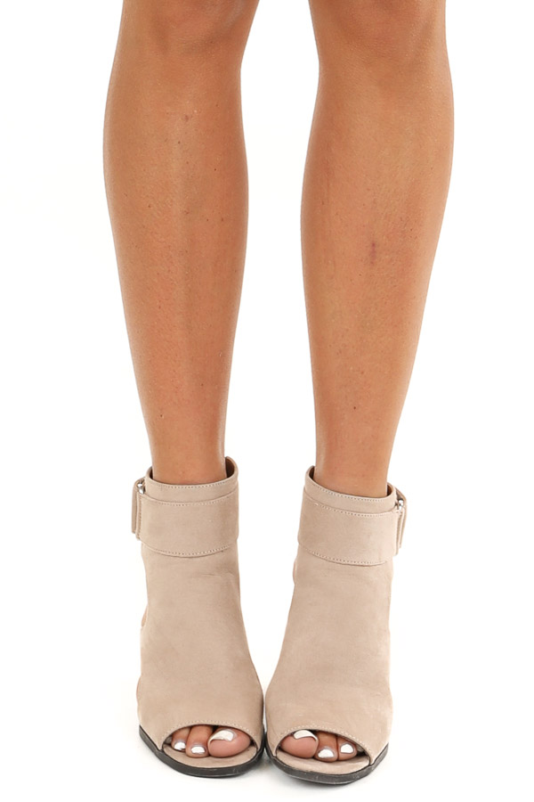 Beige Faux Suede Open Toe Heel with Cutouts and Velcro Strap front view