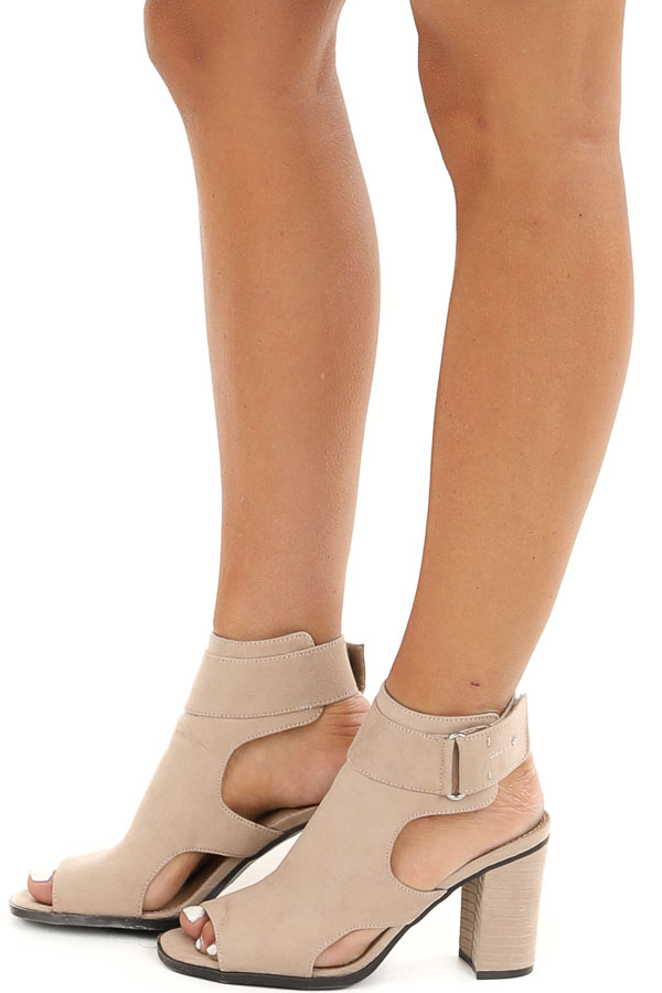 Beige Faux Suede Open Toe Heel with Cutouts and Velcro Strap side view