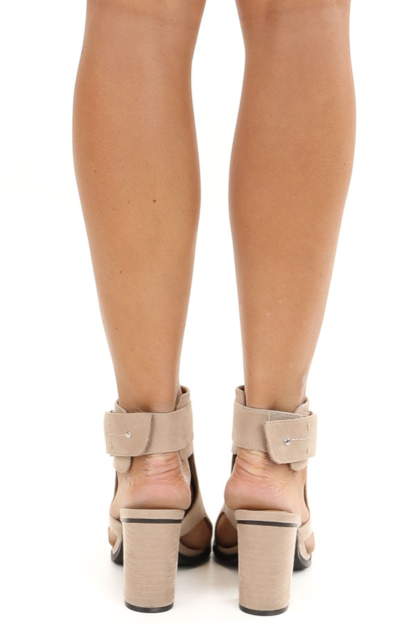 Beige Faux Suede Open Toe Heel with Cutouts and Velcro Strap back view