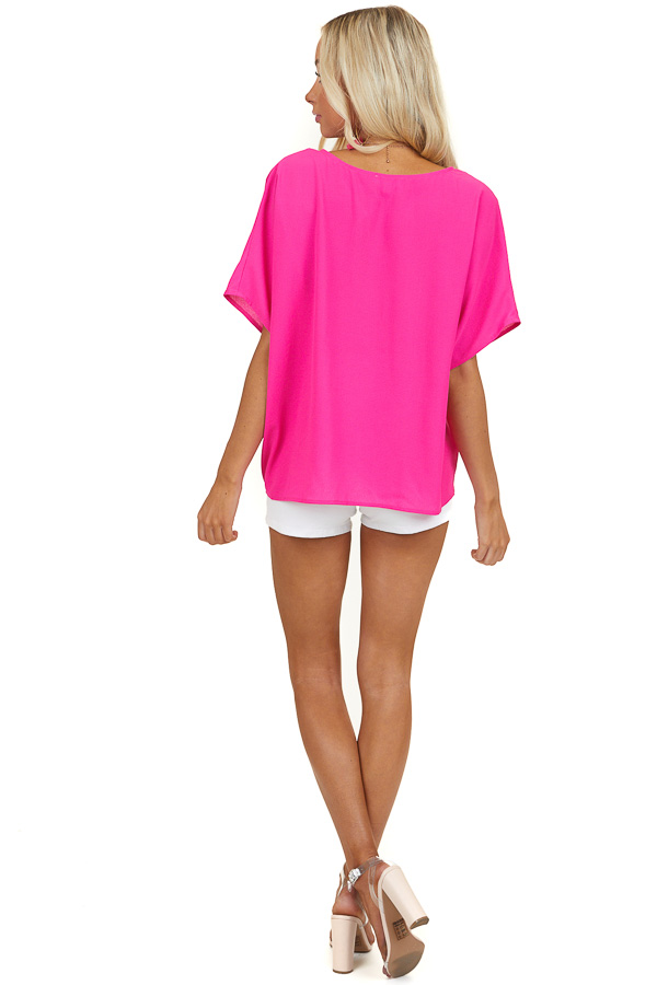 Hot Pink Short Sleeve V Neck Top with Front Twist Detail