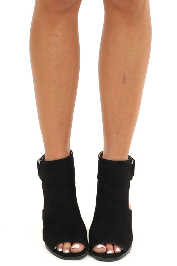Black Faux Suede Open Toe Heel with Cutouts and Velcro Strap front view