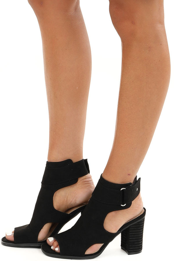 Black Faux Suede Open Toe Heel with Cutouts and Velcro Strap side view