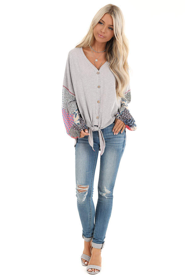 Heather Grey Multi Print Long Sleeve Top with Front Self Tie front full body