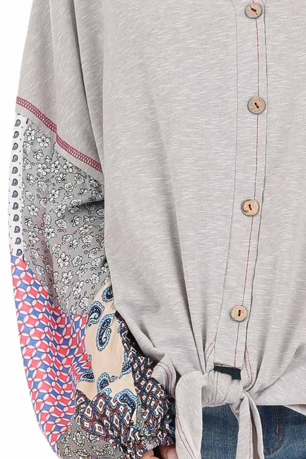 Heather Grey Multi Print Long Sleeve Top with Front Self Tie detail