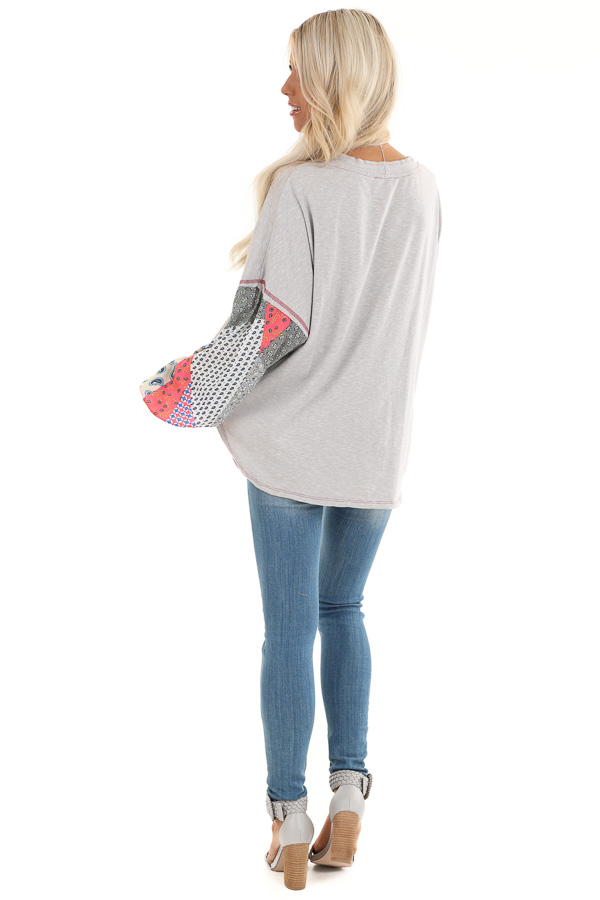 Heather Grey Multi Print Long Sleeve Top with Front Self Tie back full body