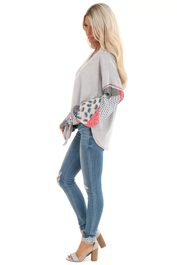 Heather Grey Multi Print Long Sleeve Top with Front Self Tie side full body