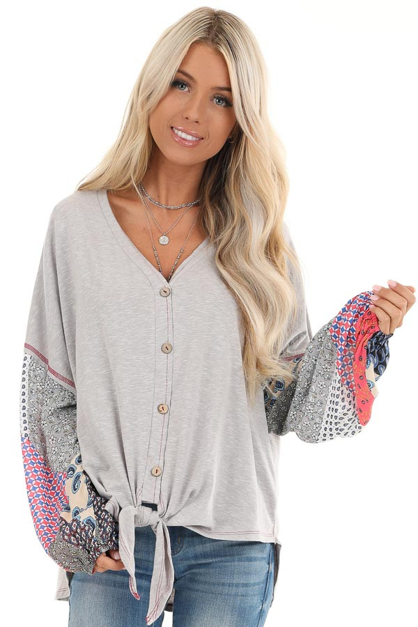 Heather Grey Multi Print Long Sleeve Top with Front Self Tie front close up
