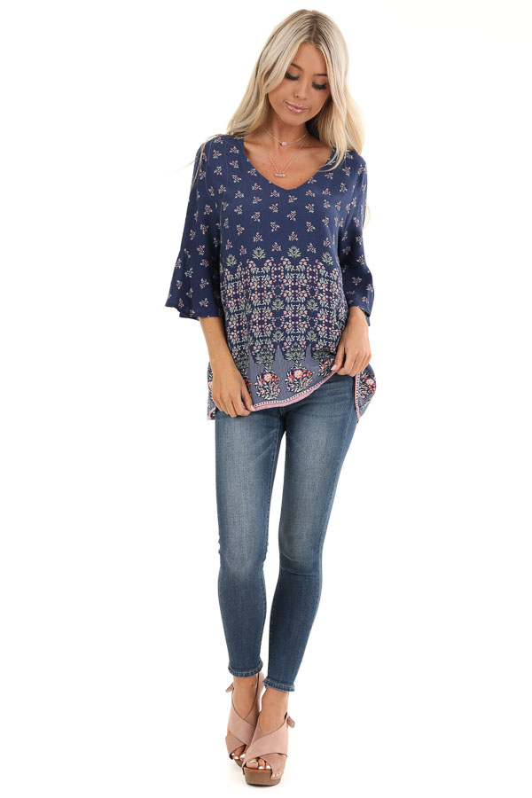 Navy Floral Print Half Sleeve Top with Ruffle Details front full body
