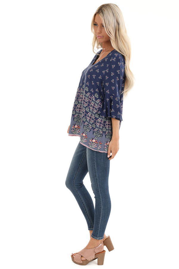 Navy Floral Print Half Sleeve Top with Ruffle Details side full body