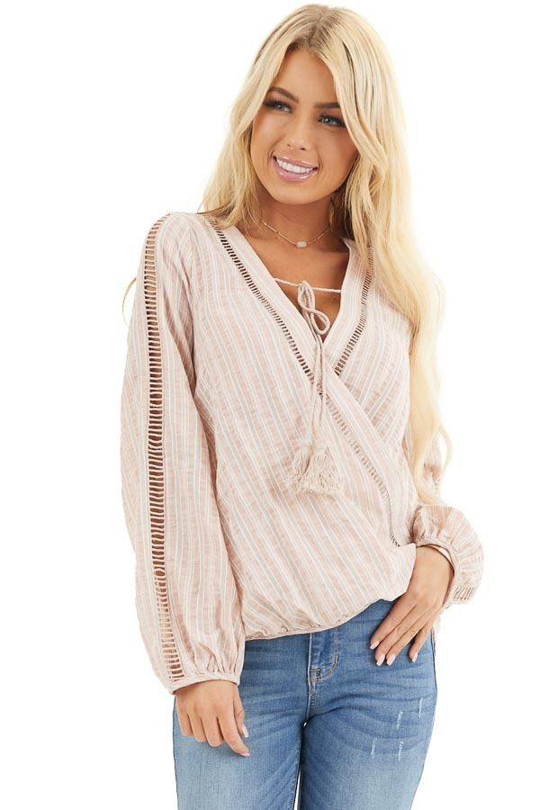 Dusty Pink Striped V Neck Woven Top with Tassel Detail front close up