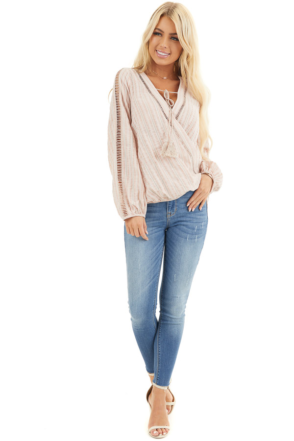 Dusty Pink Striped V Neck Woven Top with Tassel Detail front full body
