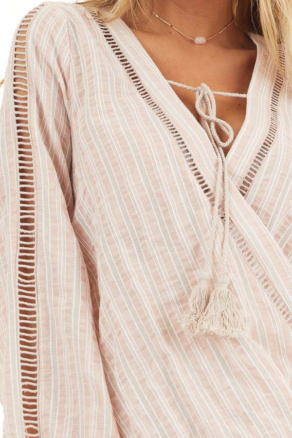 Dusty Pink Striped V Neck Woven Top with Tassel Detail detail
