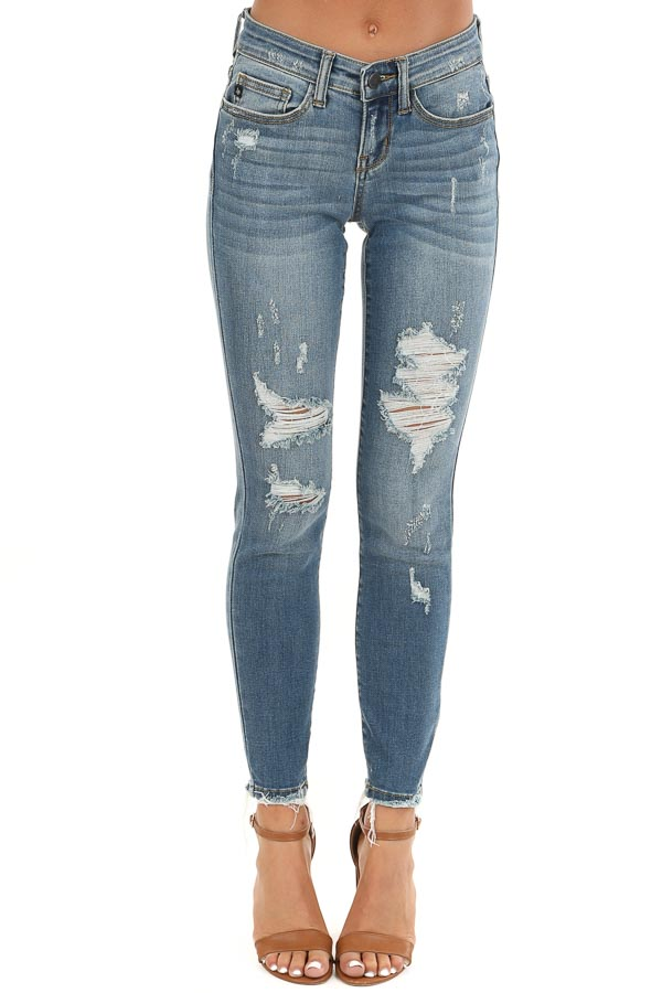 Medium Wash Distressed Denim Skinny Jeans with Frayed Ankles front view
