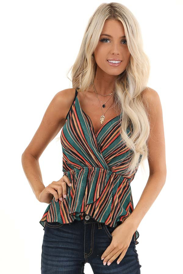 Pine and Multicolor Striped Tank Top with Petal Hemline front close up