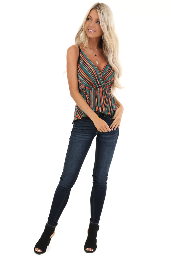 Pine and Multicolor Striped Tank Top with Petal Hemline front full body