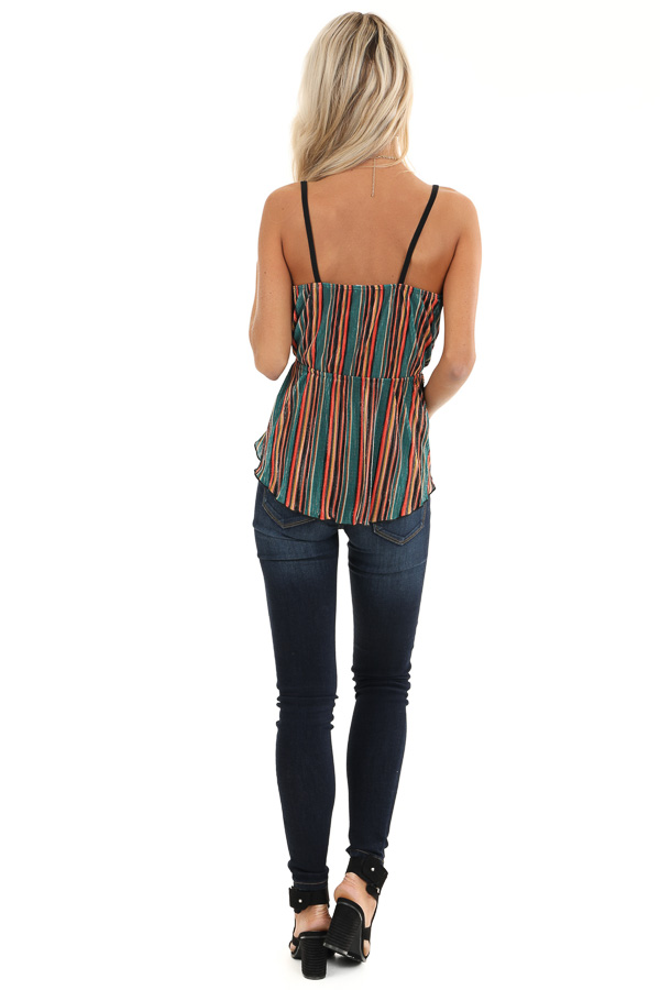 Pine and Multicolor Striped Tank Top with Petal Hemline back full body