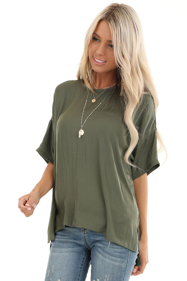 Olive Top with Short Drop Shoulder Sleeves and Side Slits front close up