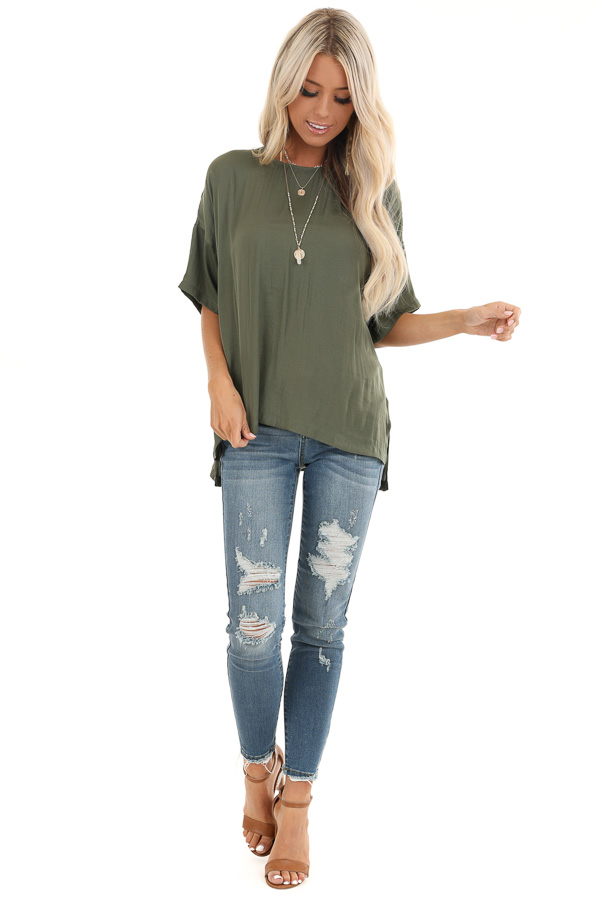 Olive Top with Short Drop Shoulder Sleeves and Side Slits front full body