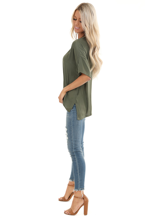 Olive Top with Short Drop Shoulder Sleeves and Side Slits side full body