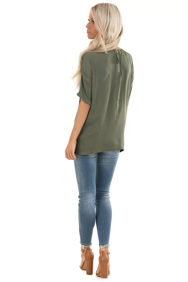 Olive Top with Short Drop Shoulder Sleeves and Side Slits back full body