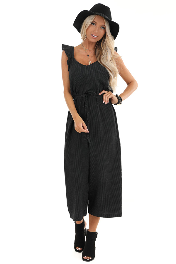 Black and White Pinstripe Ruffle Shoulder Strap Jumpsuit front full body