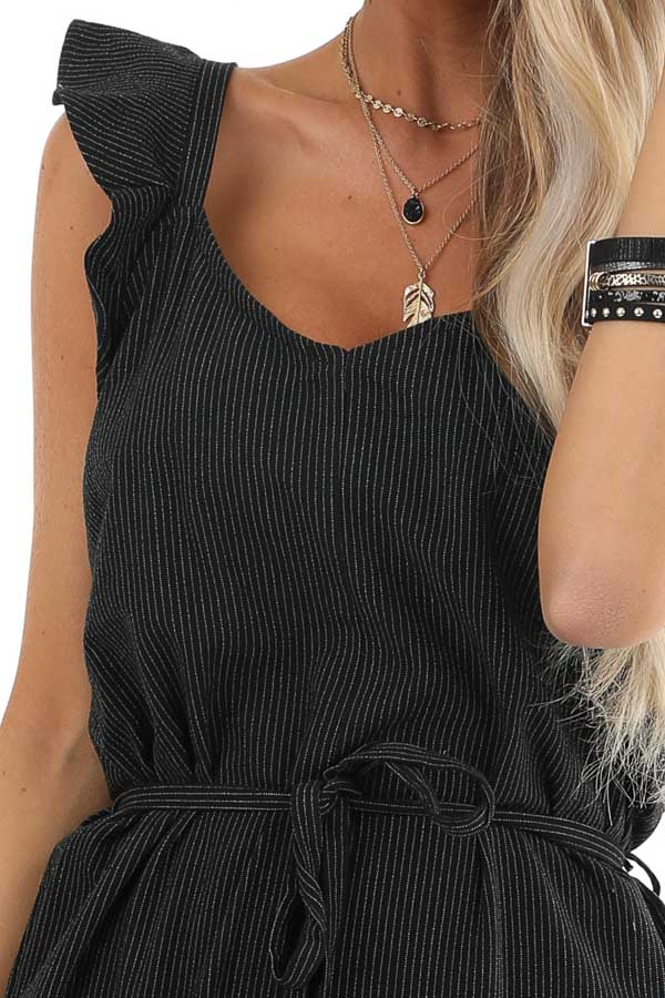 Black and White Pinstripe Ruffle Shoulder Strap Jumpsuit detail