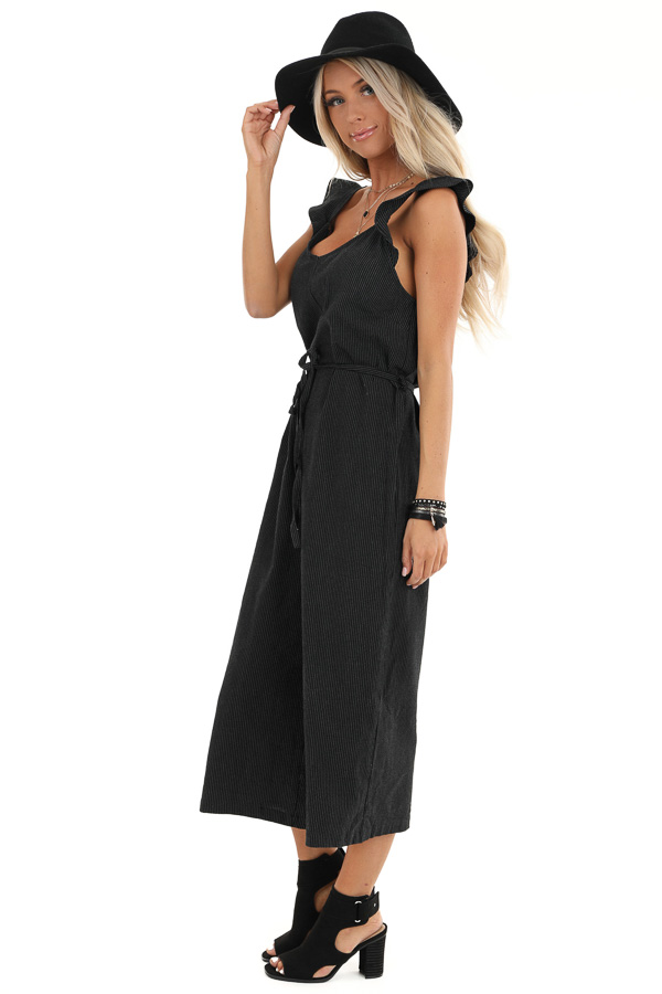 Black and White Pinstripe Ruffle Shoulder Strap Jumpsuit side full body