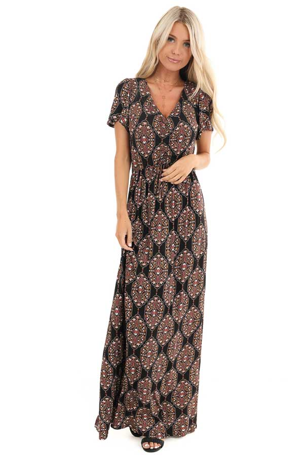Black Multicolor Abstract Print Ruched Knit Maxi Dress front full body