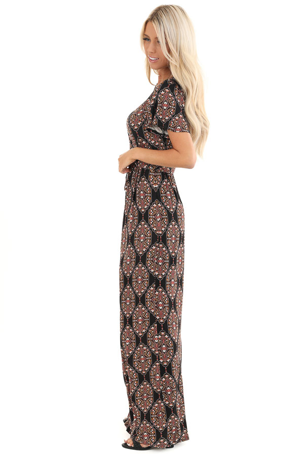 Black Multicolor Abstract Print Ruched Knit Maxi Dress side full body