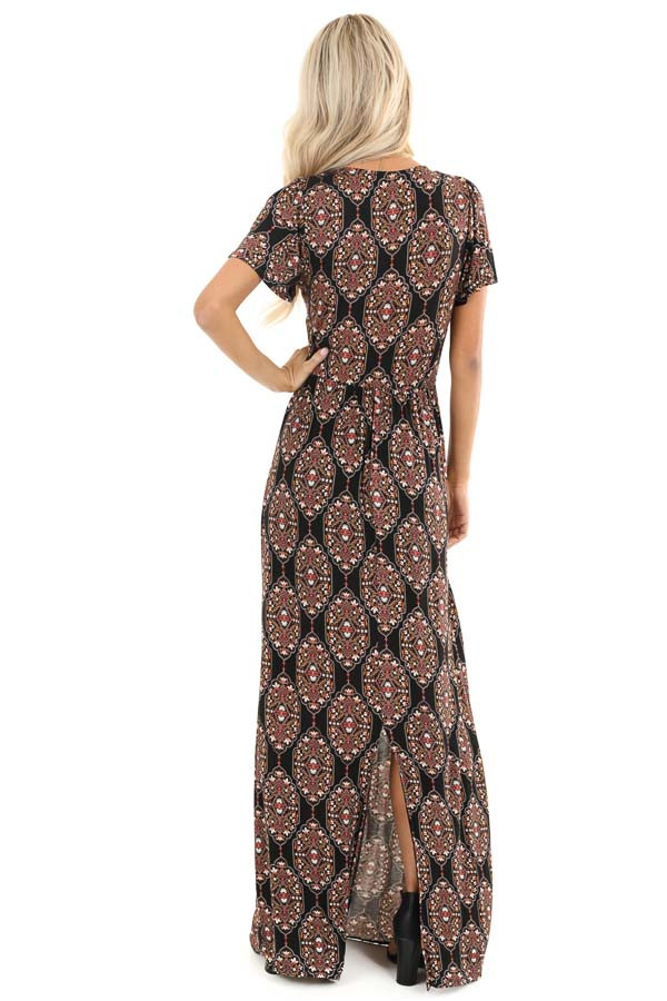 Black Multicolor Abstract Print Ruched Knit Maxi Dress back full body