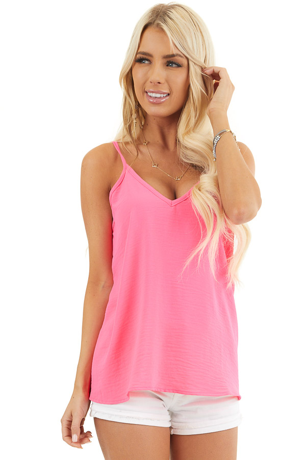 Neon Pink Sleeveless Tank Top with V Neckline and Back front close up